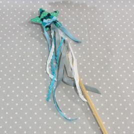 """Baguette magique """"Je suis une fée"""" fleurs bleues"""