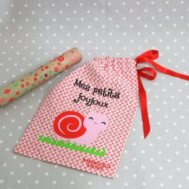Pochon/petit sac en coton pour mes joujoux, thème escargot