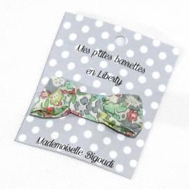 Mes petites barrettes de Mademoiselle Bigoudi/ pince crocodile Liberty vert