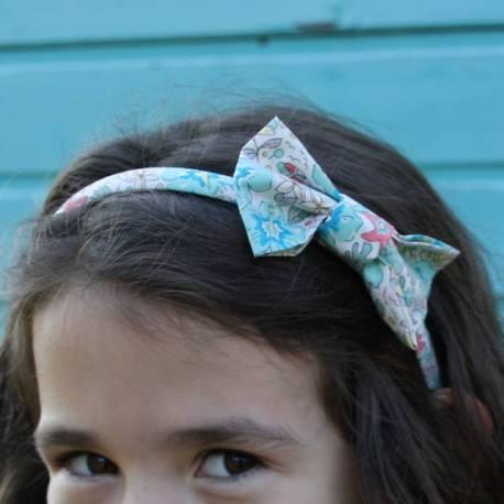 Serre-tête petit nœud/accessoire enfant Liberty aloha Betsy turquoise/ corail