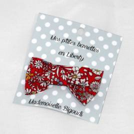 Mes petites barrettes de Mademoiselle Bigoudi/ pince crocodile Liberty rouge
