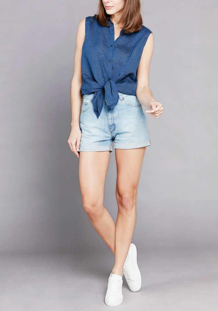 Short en jean femme clair délavé éco responsable. Atelier Tuffery, jeans made in France. Mademoiselle Coccinelle, blog mode éthique