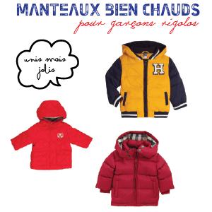 Des manteaux bien chauds pour petits garçons rigolos