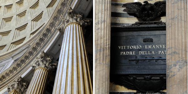 Dans le plafond du Panthéon, un oculus de 9 mètres de diamètre fait que lorsqu'il pleut, la pluie tombe dans l'édifice! A droite, le tombeau de Victor-Emmanuel II attire énormément de monde.