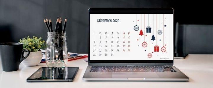 calendrier décembre 2020