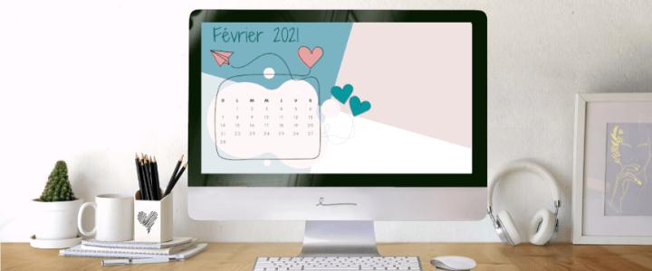 Fond d'écran avec calendrier de février 2021