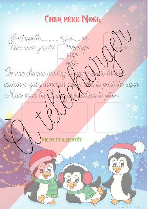Lettre de Noël, modèle Pingouins