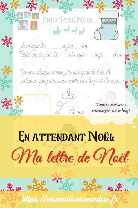 Lettre de Noël à imprimer