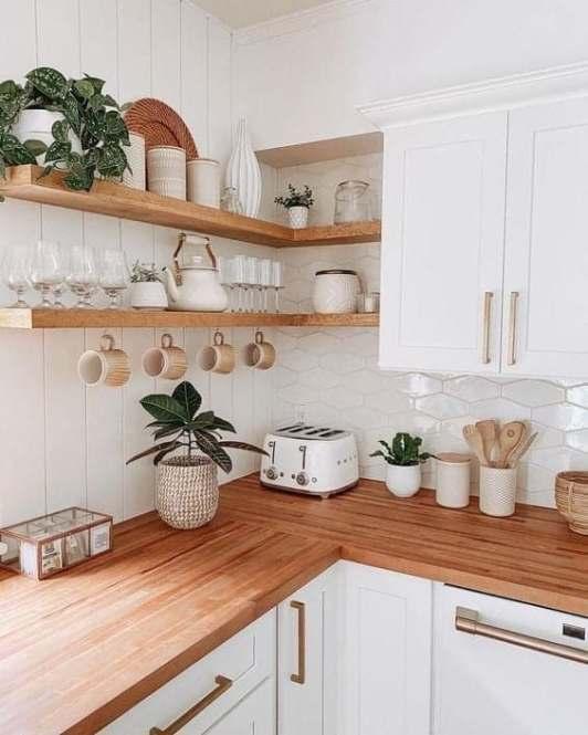 Cuisine blanche et bois décoration