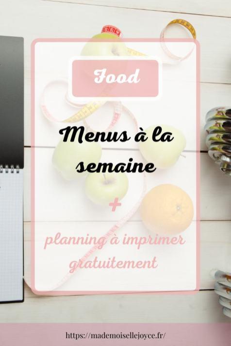 Planning menus de la semaine à imprimer