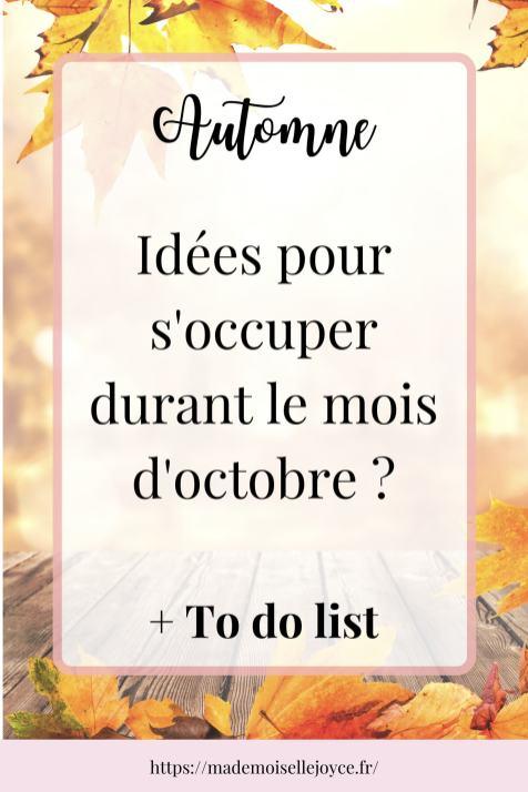 Que faire au mois d'octobre