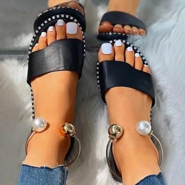 Sandales plates été 2021 noires