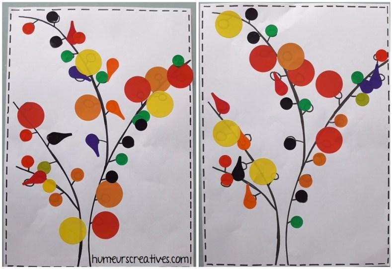 idées d'activités automne pour enfants avec gommettes