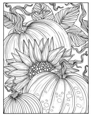 Coloriage automne à imprimer pour adulte