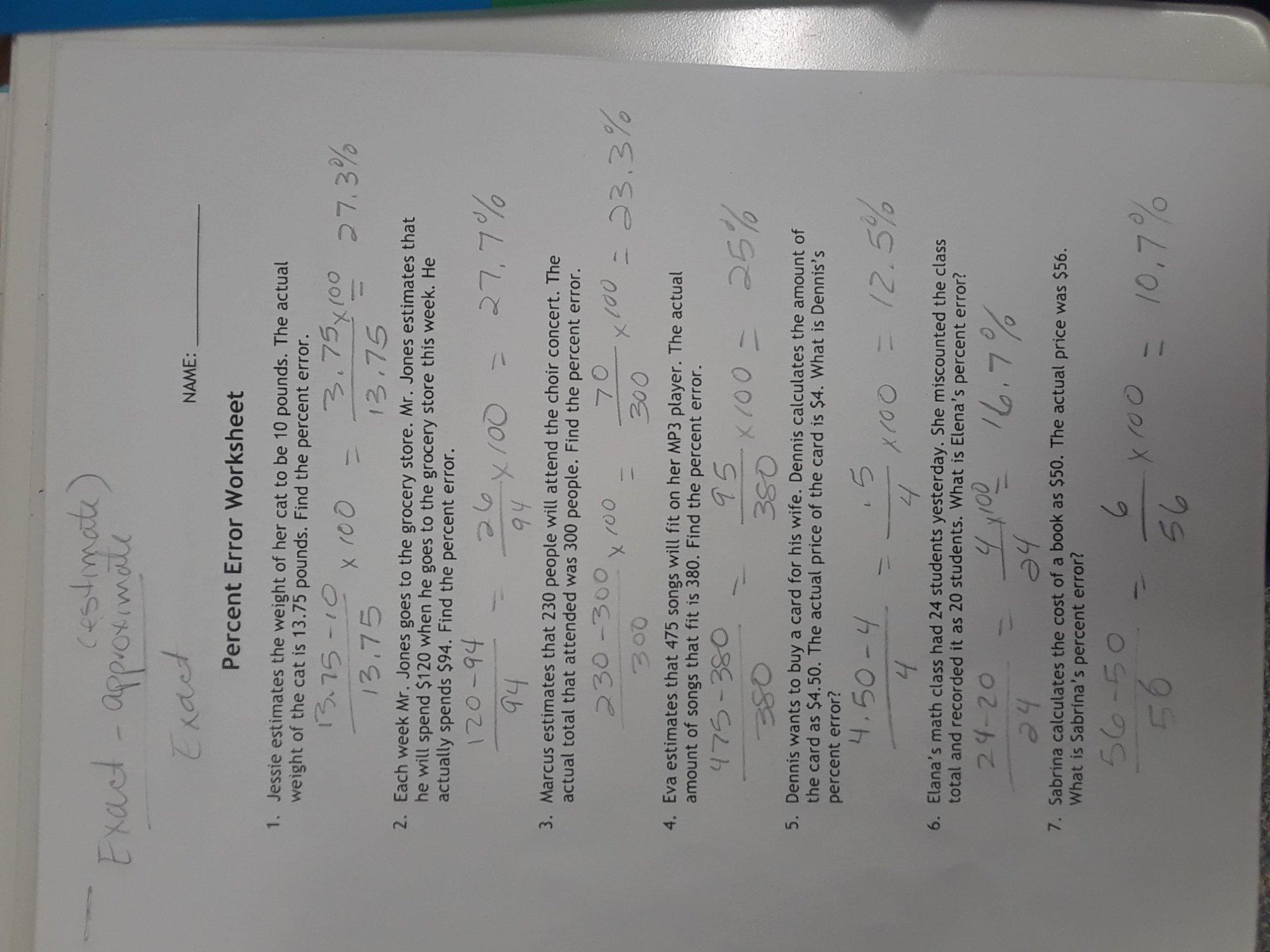 hight resolution of 12 Percent Error Worksheet Answer Key   Worksheets Ideas Printable