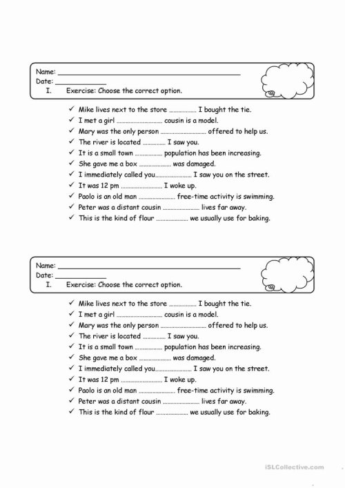 small resolution of Relative Pronoun Worksheet 4th Grade New Relative and Possessive Pronouns  Worksheet – Worksheets Ideas Printable