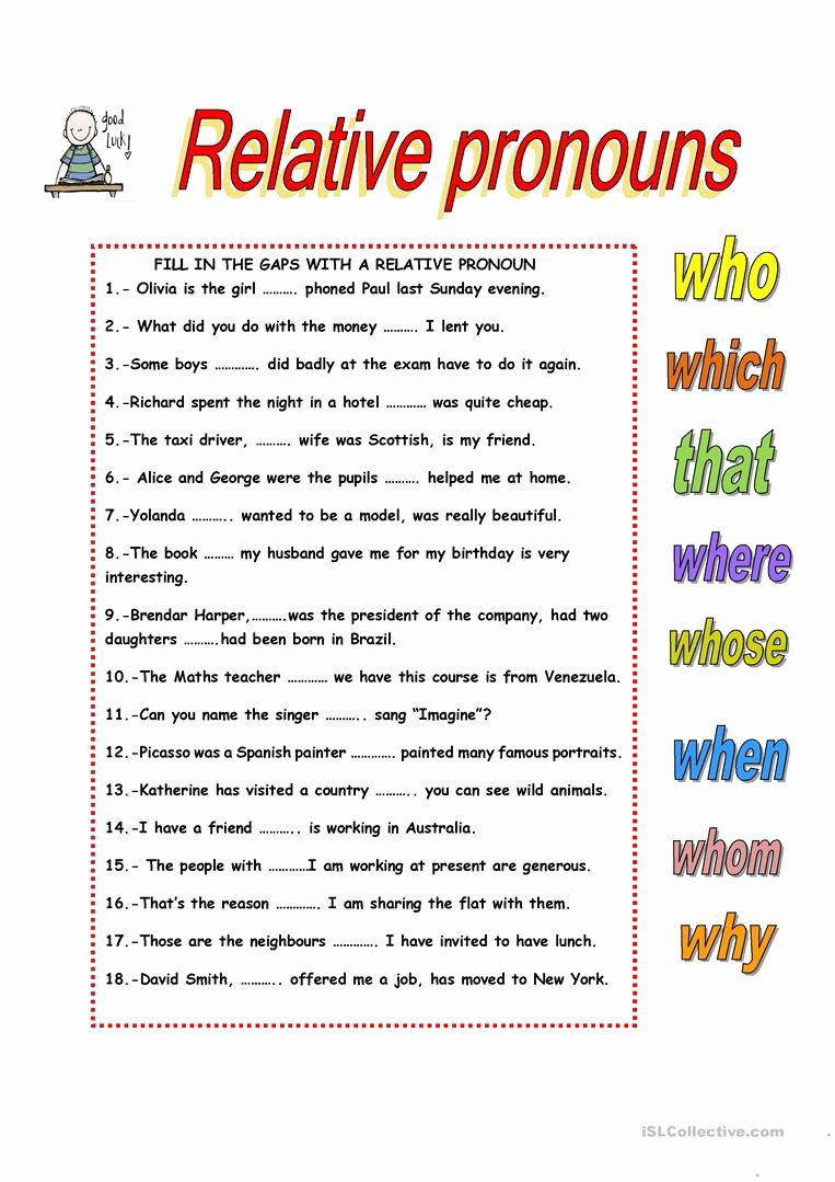 hight resolution of Relative Pronouns Worksheet Grade 4 top Relative Clauses English Esl Worksheets  for Distance – Worksheets Ideas Printable