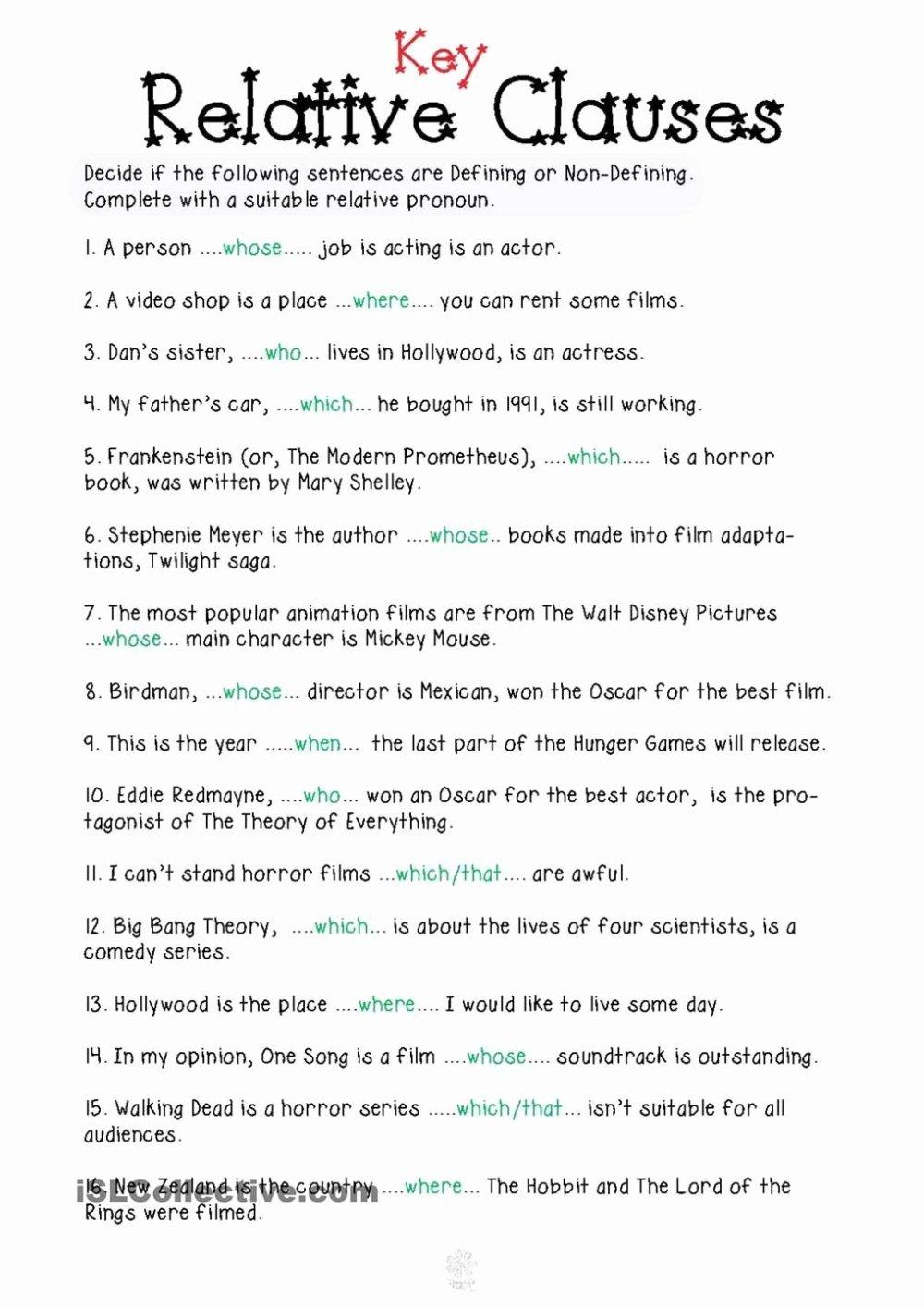 medium resolution of Relative Pronouns Worksheets 4th Grade Lovely Relative Pronouns Worksheet  Grade 4 Relative Clauses In 2020 – Worksheets Ideas Printable