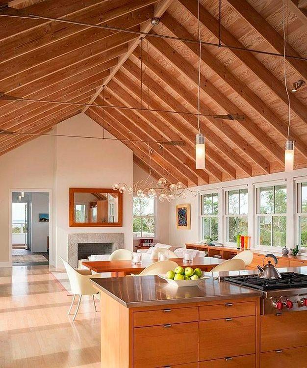 techo a dos aguas en madera