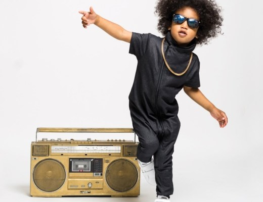 Small kid with boombox