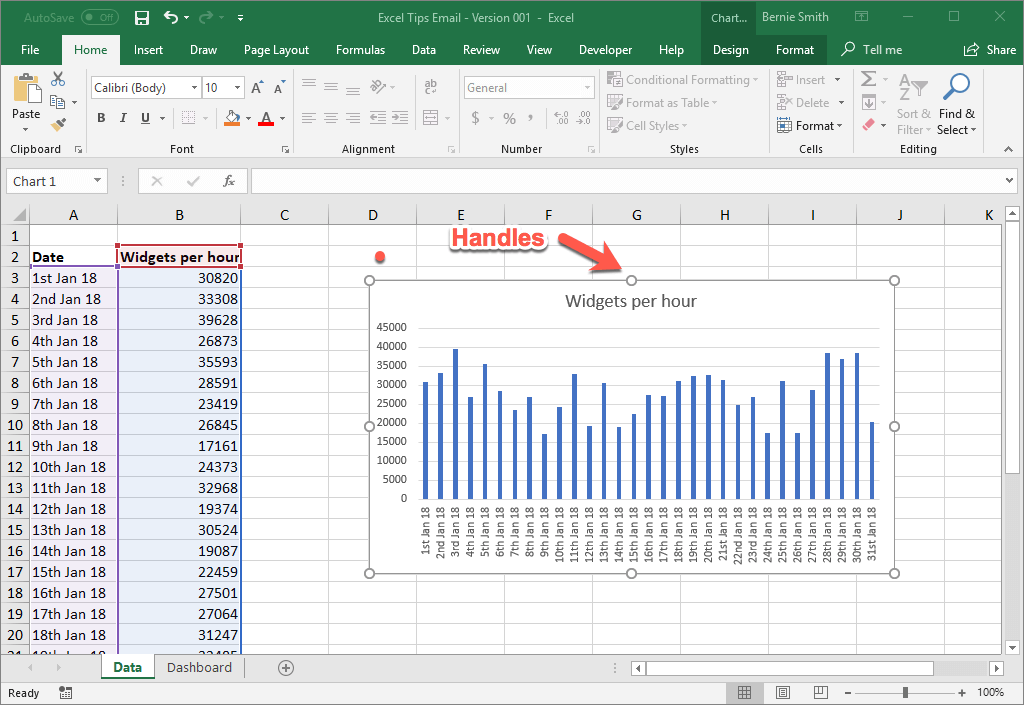 Selecting the Excel chart object