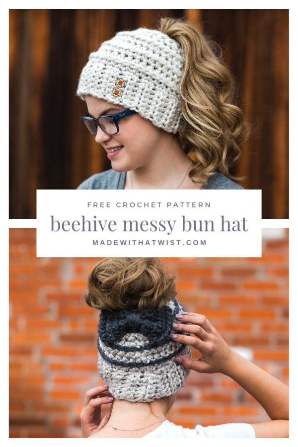 29e9b66b0b7d5 Pinterest image with two different version of the beehive messy bun hat