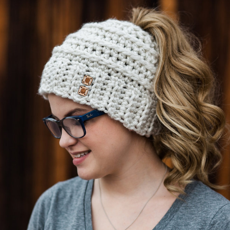 Beehive Messy Bun Hat Free Crochet Pattern Pdf Made With A Twist