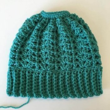 Completed Lily Ponytail Hat