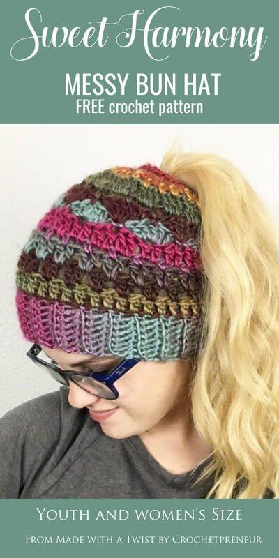 Sweet Harmony Messy Bun Hat Free Crochet Pattern Made With A Twist