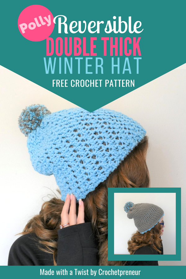Oh my gosh, it's a free crochet pattern for 8 hats in one! This double thick beanie free crochet pattern is just what I need to make all the Christmas presents. I love how thick it is and the no-seaming is a major bonus! #freecrochetpattern #doublethickhat #doublebrimhat #crochetpattern #thickwinterhat #warmwinterhat #womenswinterhat #reversiblehat #reversiblehatpattern