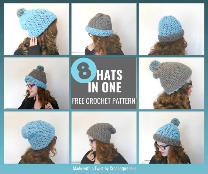 The Polly Hat, can be worn 8 ways. Offered as a bonus pattern in the 30 Days of Cozy Pattern Bundle! #30daysofcozy #reversiblehat #doublebrimhat #crochetreversiblehat