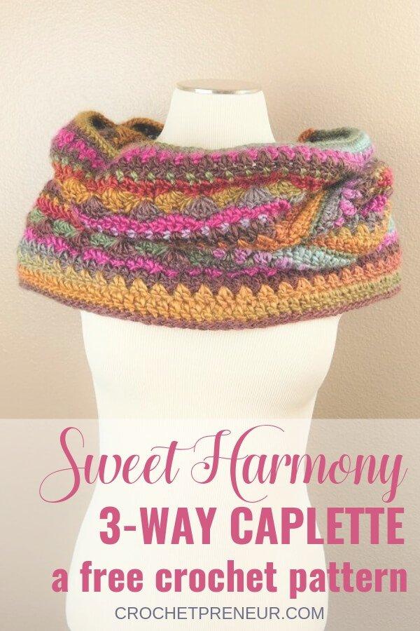 Self Striping Caplette Crochet Pattern