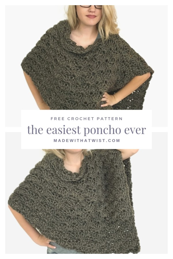 pinterest image of the crochet pattern for the easiest crochet poncho ever