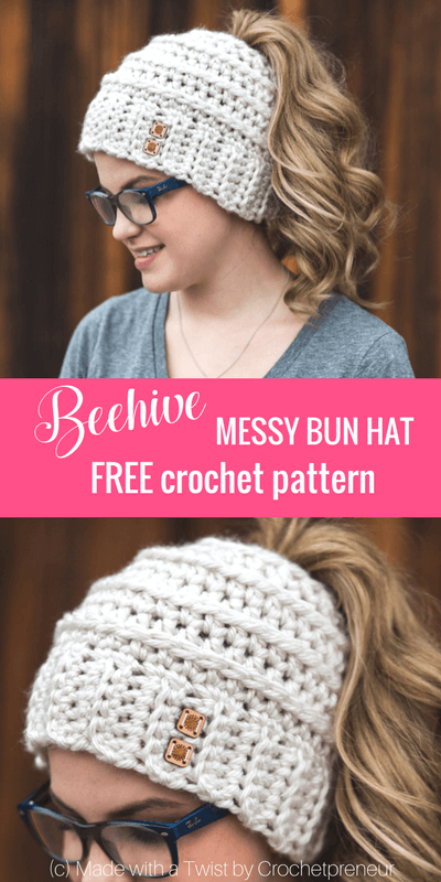 a08e279ea8d9a Free Crochet Pattern for the Chelsea Beehive Messy Bun Hat from Made with