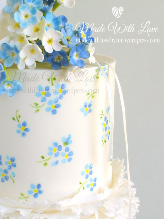 Frills and ForgetMeNots Cake Close Up  Made With Love by me