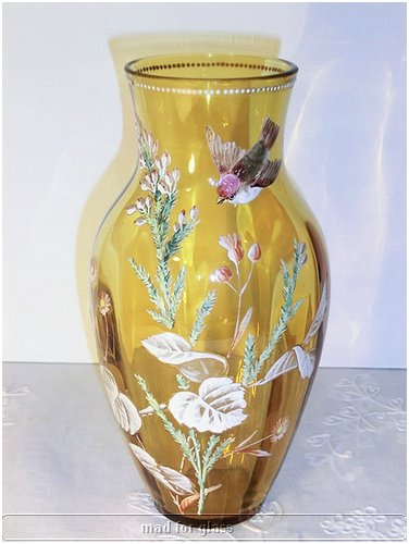 MOSER AMBER GLASS VASE WITH ENAMELED FLOWERS AND BIRD