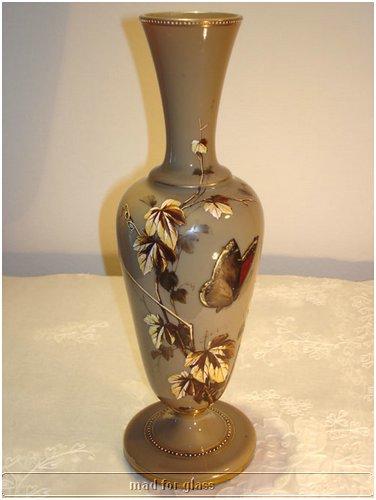 HARRACH BROWN OPALINE GLASS VASE WITH ENAMEL