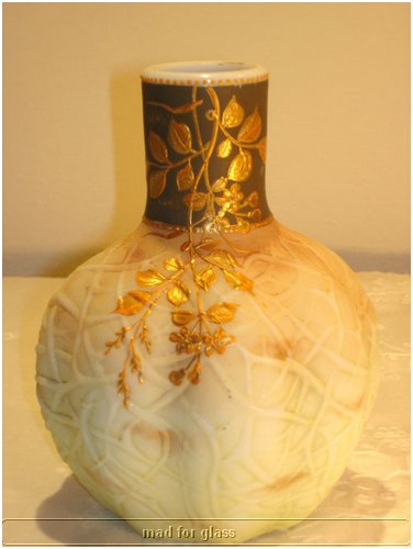 SIGNED HARRACH CREAMY OPAQUE OPALINE GLASS VASE