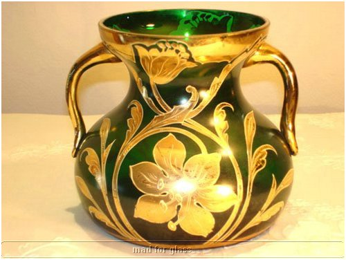 HARRACH DARK GREEN GLASS VASE WITH GOLD ENAMEL AND APPLIED HANDLES