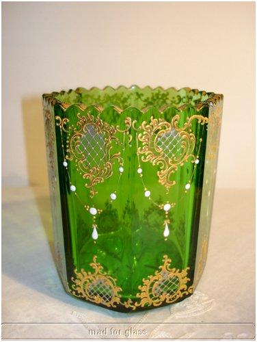 MOSER GREEN ENAMELED GLASS VASE OR SPOONER
