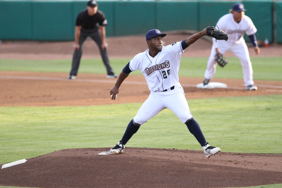 San Diego Padres pitching prospect Miguel Diaz with the San Antonio Missions
