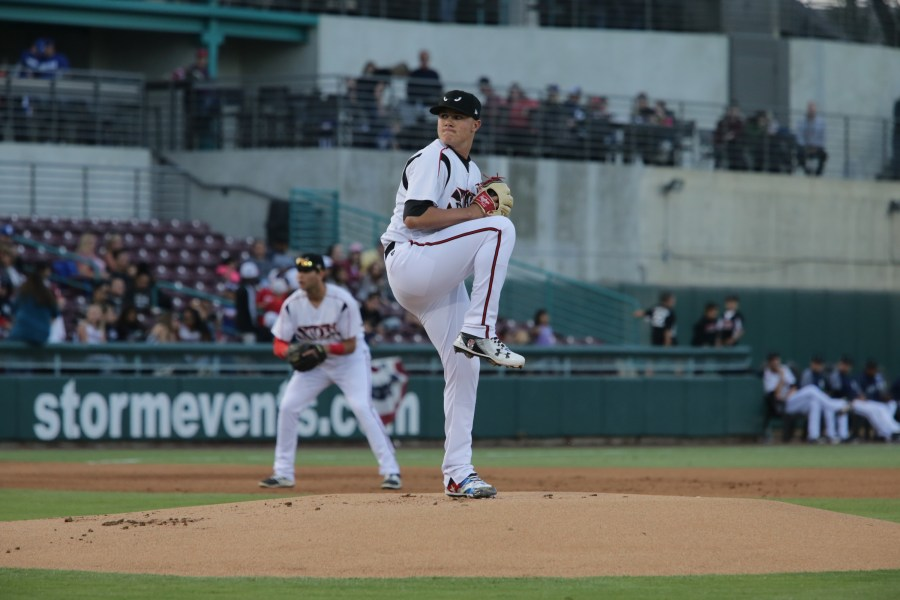 Padres pitching prospect Adrian Morejon with the Lake Elsinore Storm
