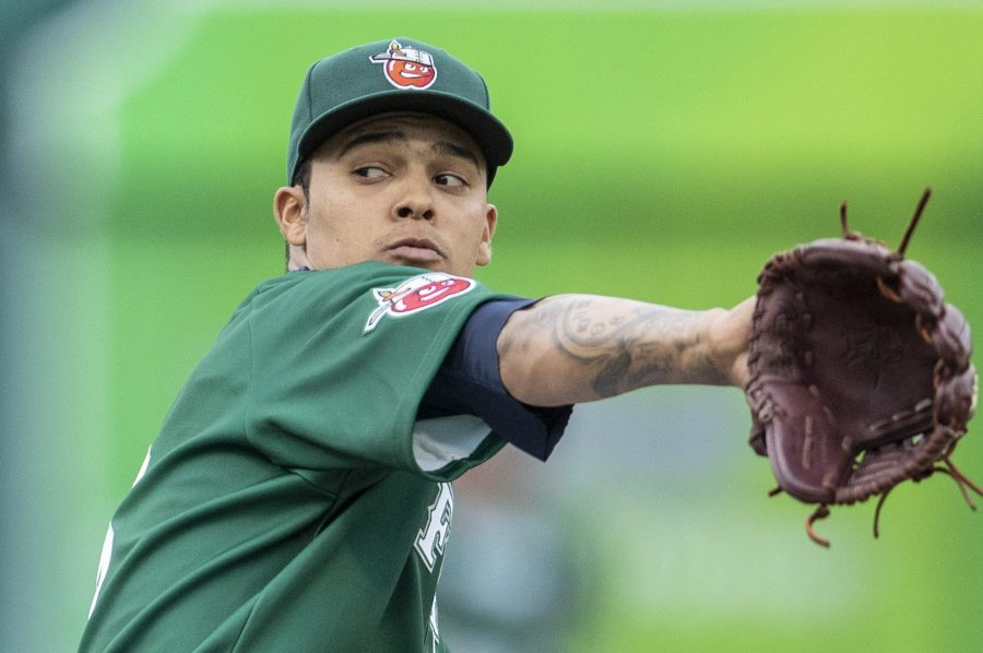Padres prospect Osvaldo Hernandez pitches for the Fort Wayne TinCaps