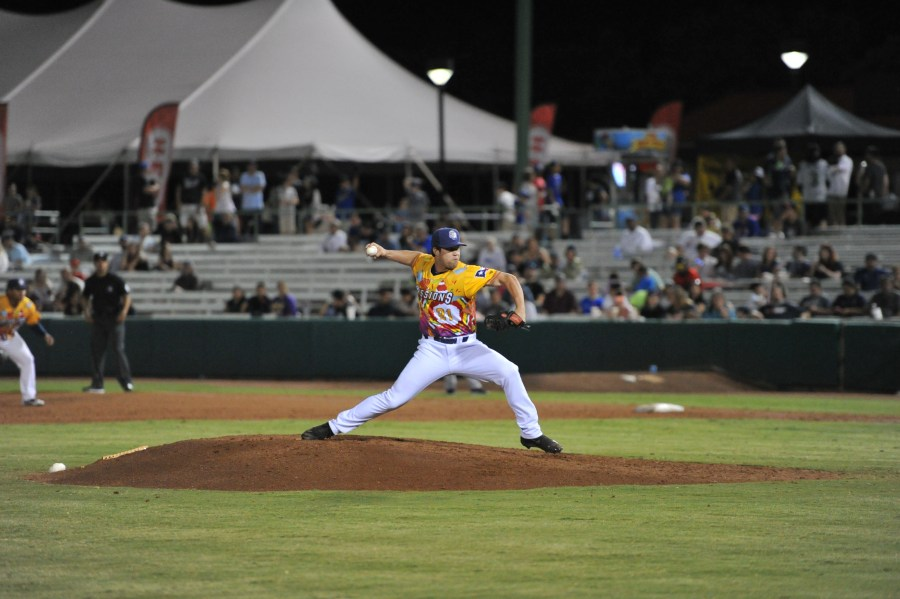 Padres reliever Robert Stock pitching for San Antonio Missions.