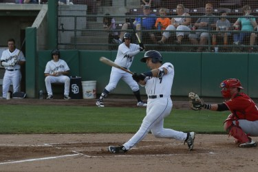 Padres prospect Michael Curry bats for Tri-City