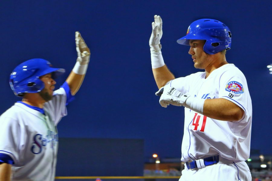 Brad Zunica celebrates a home run for Amarillo Sod Poodles