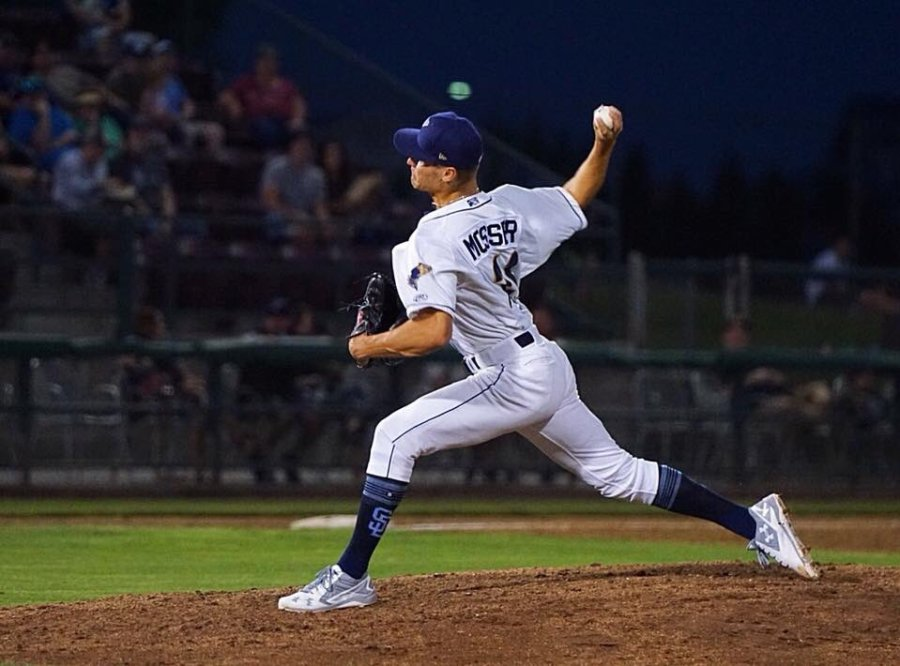 Gabe Mosser pitches for Padres affiliate Tri-City Dust Devils