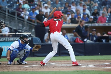 Padres draftee C.J. Abrams bats in Petco Park during Perfect Game All-American Classic