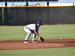 Padres prospect CJ Abram fields a ball in the AZL.