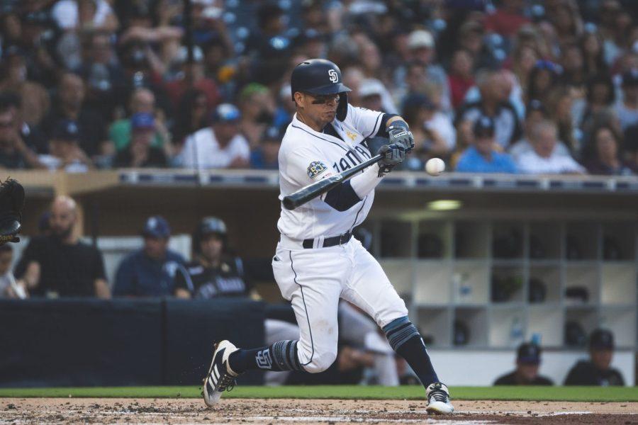 Luis Urias batting for the San Diego Padres